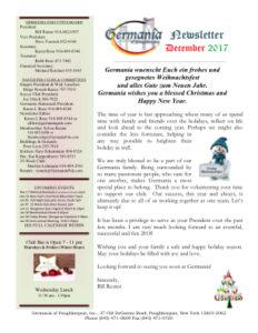 Germania Newsletter December 2017